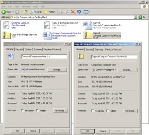 Compact (the native NTFS compression) vs Compress the send to Zipped Folder